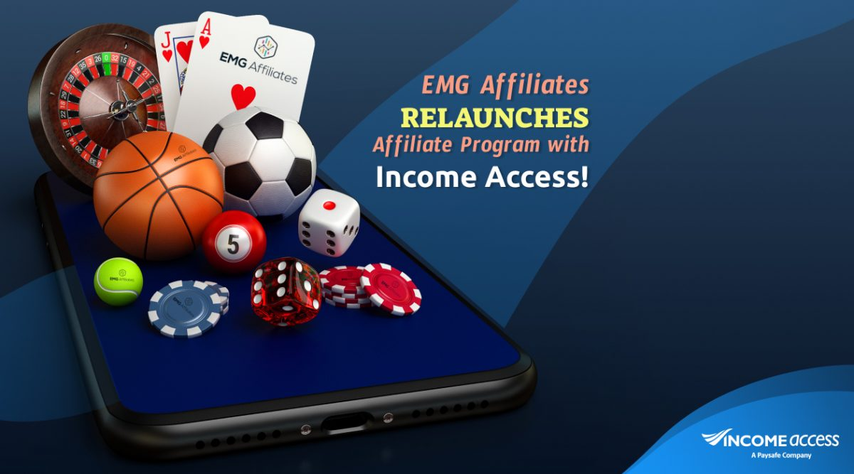 Betting objects like playing cards, dice, sports balls, and poker chips balanced on smartphone above blue background.